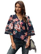 Women Chiffon Printed 3 4 Flared Sleeve Floral Blouse