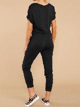 Solid Color V Neck Wrap Front Women Penetration Jumpsuits