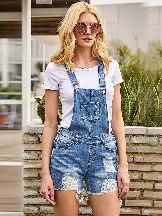 Suspender Hem Ribbed Light Blue Denim Frayed Raw Overall Shorts
