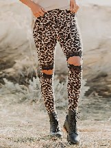 Floral Hollow Out Leopard Printed Lace Stretch Leggings