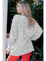 Gray Winter Long Sleeve Mid-length Break Knit Tunic Sweater