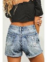 Denim Women Vintage Faded Distressed Jean Shorts