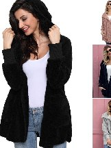 Soft Fleece Hooded Open Front Women Plus Size Coat