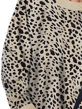 Women Leopard Print Round Neck Pullover Sweatshirt