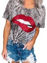Summer Short Sleeve Blow Me A Kiss Glitter Leopard Top