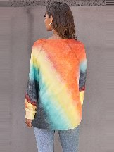 Women Colorful Tie-dye Long Sleeve Top