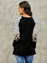 Striped and Leopard Color Round Neck Block Sleeves Top