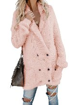 Warm Knitted Fuzzy Double Breasted Pocketed Women Long-sleeved Cardigan