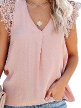 Summer Lace Stitching Sleeveless Crochet Blouse