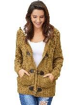Plush Casual Fur Hood Horn Button Sweater Cardigan