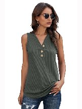 Pure Color Sexy 3 Button Ribbed Fabric Tank Top