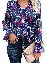 Street Fashion Rose Split Neck Printed Blouse