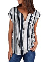 Multicolor V Neck Stripes Roll Up Short Sleeve Zip Summer Casual Blouse