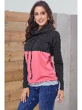 Colorblock Thumbhole Sleeved Plus Size Sweatshirt