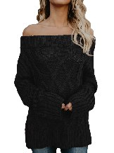 Long-sleeved Off The Shoulder Winter Sweater