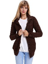 Single Row Button Long Sleeve Hooded Cardigans
