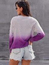 Gradient Ombre Crewneck Long Sleeve Casual Sweatshirt