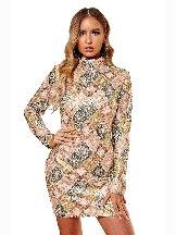Aztec Sequin High Neck Slim Mini Sexy Dress Women