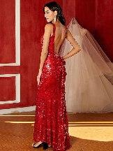 Born A Star Gold Sequin Frill Back Fishtail Maxi Dress