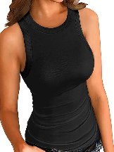 Solid Gray Round Neck Ribbed Women Tank Top