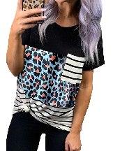 Leopard Stitching Slim Camo Pocket T-Shirt