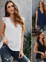Women Lace Sexy Loose Reversible Top