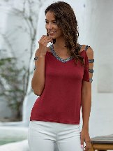 V-neck Stitching Hollow Casual Short-sleeved T-shirt
