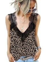 Women Summer Print Floral Lace Shoulder Tank Top