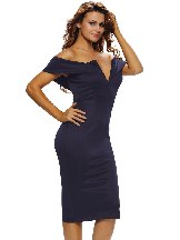 Blue Women Autumn Off-the-shoulder Midi Dress