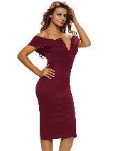 Rose  red Women Autumn Off-the-shoulder Midi Dress