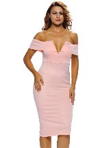 Pink Women Autumn Off-the-shoulder Midi Dress