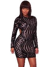 Calf-Length Sleeve Sequin Detail Open Back Prom Mini Dress