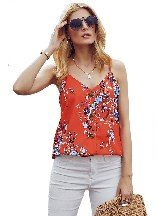 Women Summe Print Button Up Loose Tank Top