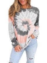 Ombre Tie Dye Printed Loose Leisure Sweatshirt