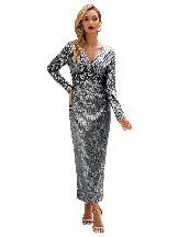 Silver Elegant Long Sleeve V Neck Twist Ruched Sequin One Step Maxi Dress