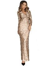 Apricot Elegant Long Sleeve V Neck Twist Ruched Sequin One Step Maxi Dress