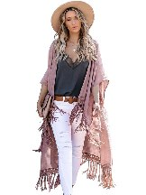 Pure Color Travel The World Tassel Knit Kimono