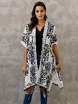 Blue Women Beach Printed Prowess Mid-length Loose Kimono