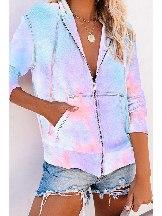 Women Long-sleeved Sweater Tie-dye Pocket Zip Up Hoodie