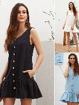 Women Summer Pocketed Button Down Ruffled Hem Dress