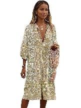 Women Retro Printed Three-Quarter Sleeve Mid-Calf Dress