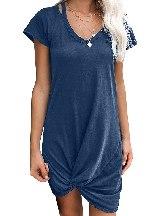Blue Asymmetrical Hem Skies Jersey Twist T-Shirt Dress Women