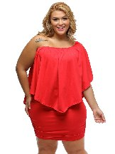 Red Multiple Layered Plus Size Poncho Dress