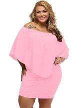Pink Multiple Layered Plus Size Poncho Dress