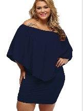 Deep royal blue Multiple Layered Plus Size Poncho Dress