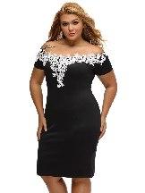 Lace Crochet Off Shoulder Short-sleeved Plus Size Pencil Dress