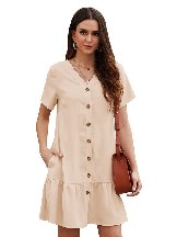 Summer V-neck Short-sleeved Solid Color Pocketed Button Down Ruffle Dress