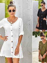 Solid Color Women V Neck Button Front Roll Up Tab Sleeve Dress