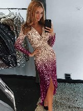Sequin Wrapped Ruched Frills Irregular Dress