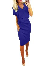 Elegant Women V Neck Cutout Inverted Pleat Bodycon Dress